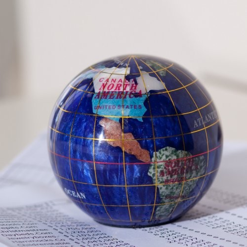 Finley Home The Oswald Gemstone Paperweight 3-Inch Diam. Desk Globe Lapis eclectic-desk-accessories
