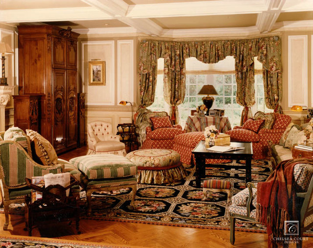 Patterned Family Room traditional-family-room