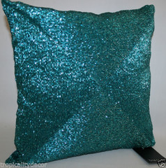 Tahari Home Hand Beaded Accent Pillow Teal Aqua Turquoise Peacock Blue Coastal - by ...