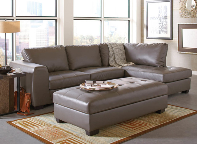 Joaquin grey leather sectional modern sectional sofas by modern furniture warehouse Modern sofa grey