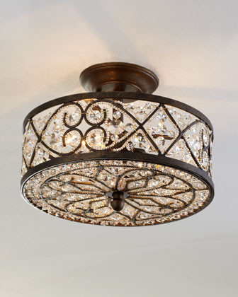 Woven Crystal Ceiling Fixture traditional-ceiling-lighting