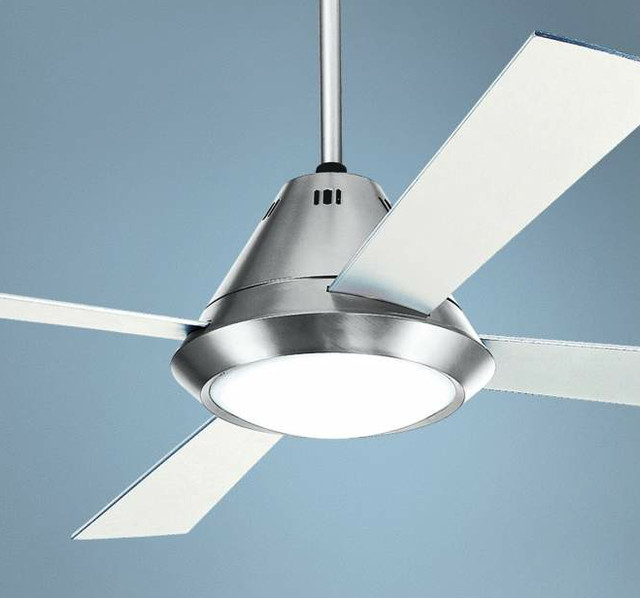 steel finish ceiling fan contemporary ceiling fans by lamps plus. Black Bedroom Furniture Sets. Home Design Ideas