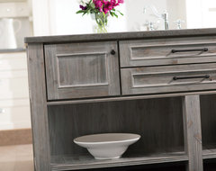 Weathered Wood Kitchen Island transitional-kitchen