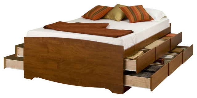 Bed Double : Prepac Cherry 12-Drawers Tall Platform Storage Bed - Double/ Full ...