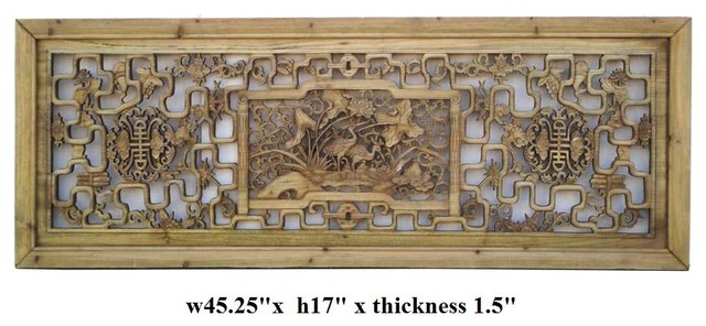 Chinese Crane Longevity Wood Wall Panel asian screens and wall dividers