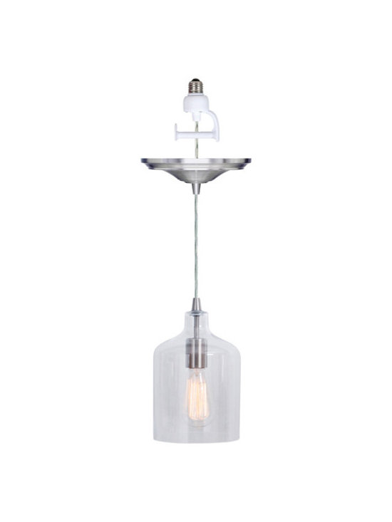Ryder Instant Pendant Light Conversion Kit - As easy as changing a light bulb, the cloche shade of our Ryder Instant Pendant Light Conversion Kit is as stylish as it is easy to install. No remodeling hassles or expense. Installs in minutes without tools. Adjustable cord length allows changes any time.