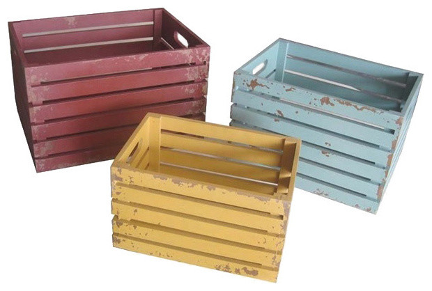 Colorful Distressed Wood Crates Set Of 3 Contemporary
