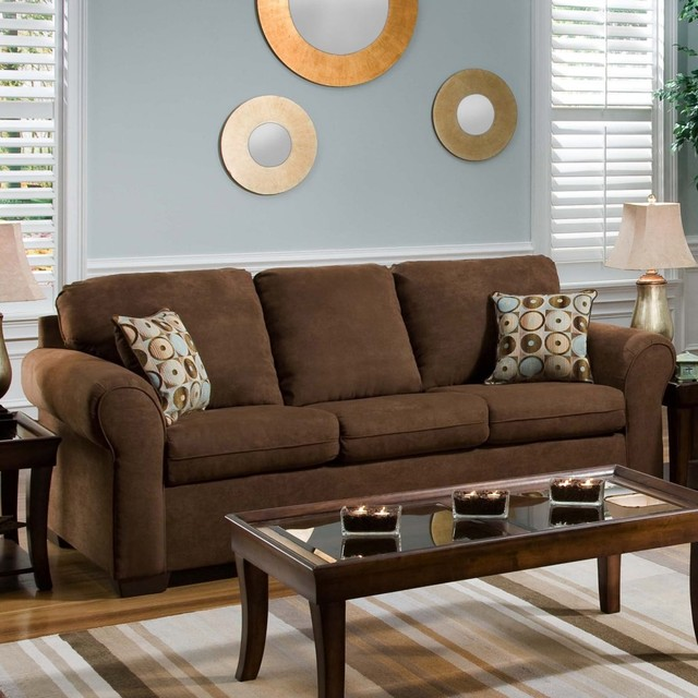 Simmons Chocolate Fabric Sofa With Accent Pillows