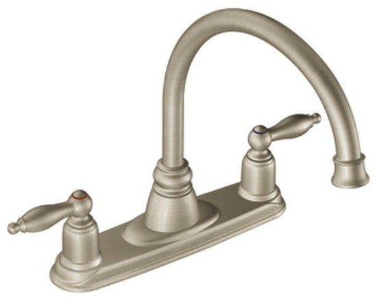 Moen Castleby Stainless two-handle high arc kitchen faucet - The Castleby® collection features a design that invokes a nostalgic charm and looks great in your home.