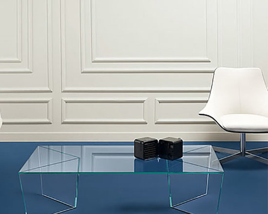 Mirage Rectangular Coffee Table - Modern Rectangular Glass Coffee Table. Mirage table collection is the perfect combination of two materials: glass and Alpi wood. Also available in the extra clear glass mirrored with veneered Alpi wood finish. Mirage consists of two low tables with a rectangular and square top, a night table, and a console. Design by Matteo Ragni.