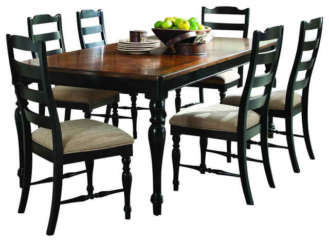 homelegance mckean 7 piece dining room set in black and