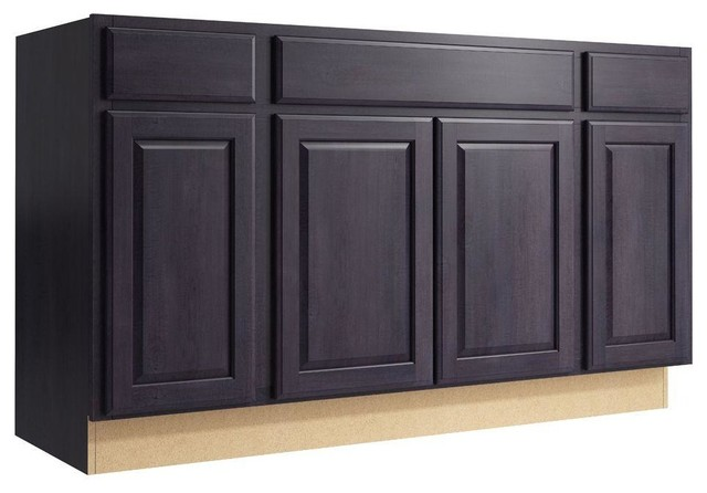 Cardell Cabinets Salvo 60 In W X 34 In H Vanity Cabinet Only In Ebon Smoke Contemporary