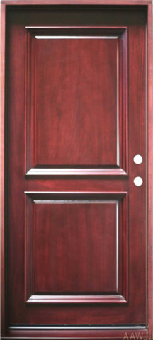 "2-Panel, Prehung and Prefinished Entry Door, 36""x80"", Mahogany traditional-front-doors"