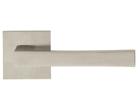 Door Lever Set Oslo, Satin Stainless Steel - This modern and stylish lever set will enhance your interior door and makes it a true conversational piece. It is from solid cast iron and available in different finishes. The set includes the handles on both sides, both rosettes and the mortise lock for passage or privacy. This lever set is made for custom doors that are not pre-hung or prepped for standard handles.