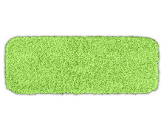 "Sands Rug - Quincy Super Shaggy Lime Green Washable Runner Bath Rug (1'10"" x 5') - Jazz up your bathroom, shower room, or spa with a bright note of color while adding comfort you can sink your toes into with the Quincy Super Shaggy bathroom collection. Each piece, whether a bath runner, bath mat or contoured rug, is created from soft, durable, machine-washable nylon. Floor rugs are backed with skid-resistant latex for safety."