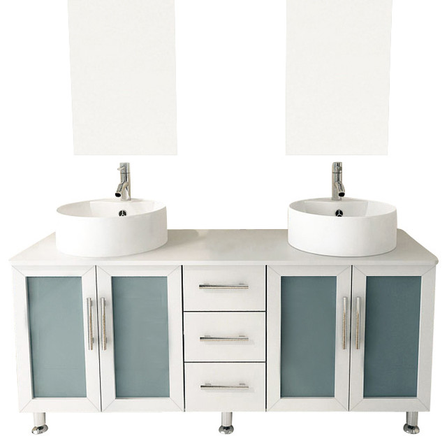59 Double Lune White Large Vessel Sink Contemporary Bathroom Vanity Cab