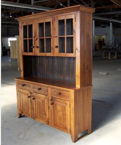 5ft Reclaimed Barn Wood Hutch With 3 Door Glass Top - Farmhouse - China Cabinets And Hutches ...