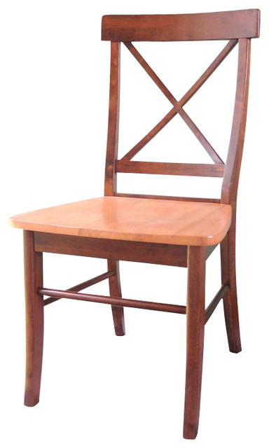 International Concepts X Dining Chair in Cinnamon/Espresso (set of 2) transitional-dining-chairs