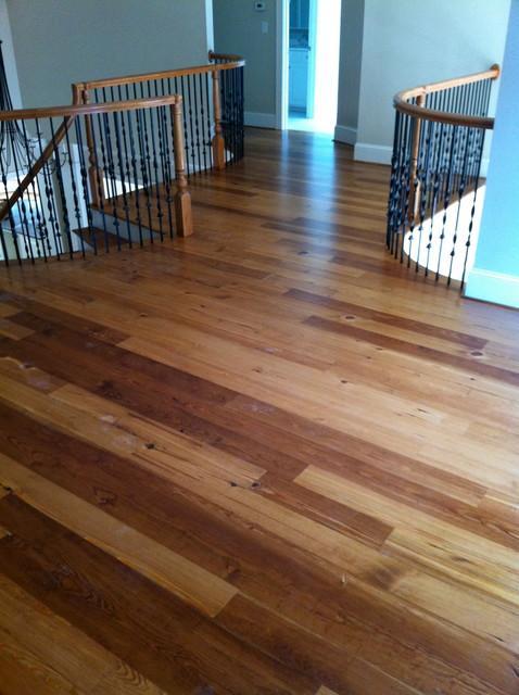Custom Stained Reclaimed Heart Pine Flooring & Staircase - Rustic - Hardwood Flooring - raleigh ...