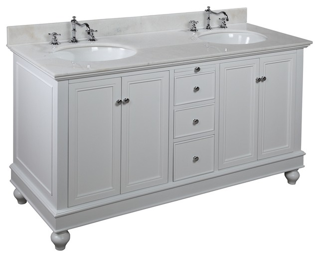 Bella 60 In Double Sink Bath Vanity White White Transitional Bathroom V