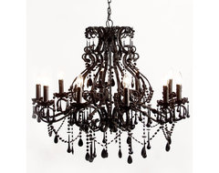 Black Magic 10 Arm Chandelier traditional-chandeliers