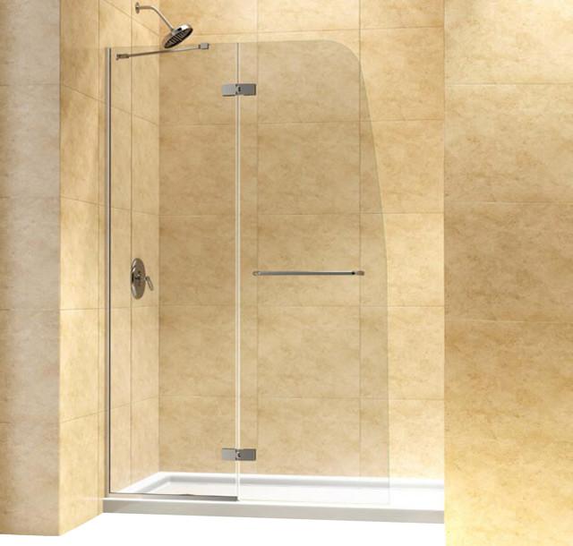 "Aqua Ultra Frameless Hinged Shower Door, Clear 5/16"" Glass Door modern-showerheads-and-body-sprays"