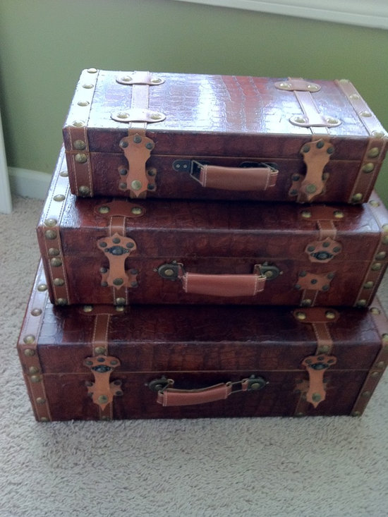 Refinished accessories - After photo with crocodile finished applied to suitcase for an accent piece in decor.