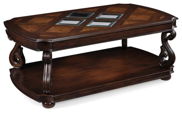 Magnussen t1648 harcourt wood rectangular coffee table with casters traditional coffee Traditional coffee table