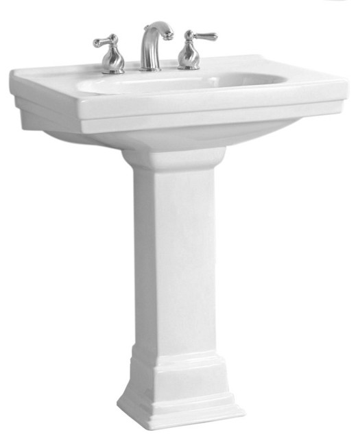 Foremost F-1950-8-WH Structure Vitreous China Pedestal Sink   plumbingdepot.com traditional-bathroom-sinks