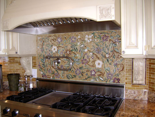 Mosaic Floral Backsplash modern-kitchen
