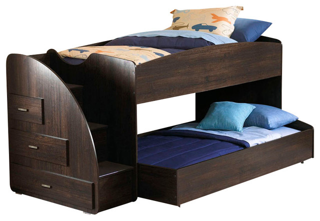 Bonded Leather Low Profile Platform Bed Frame W Paneled: Standard Furniture Hideout Loft Bed With Trundle In Warm