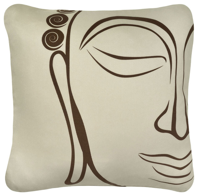 Organic Cotton Throw Pillow Inserts : Buddha Organic Cotton Decorative Square Throw Pillow, Chocolate/Seagrass - Asian - Decorative ...