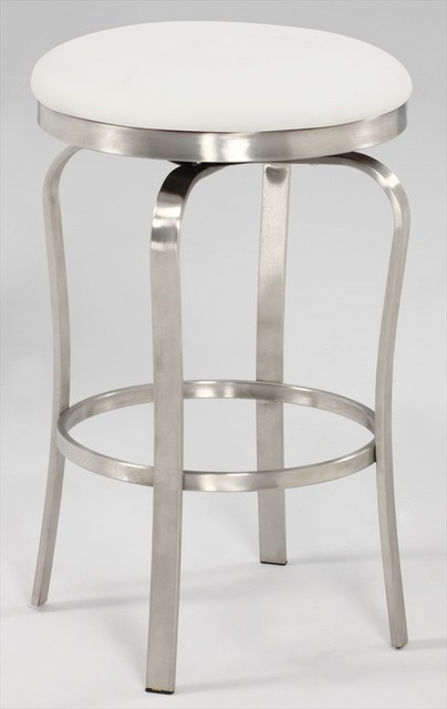 Modern Backless Counter Stool In Brushed Stainless Steel