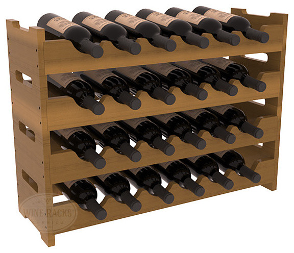 24 Bottle Mini Scalloped Wine Rack in Redwood with Oak Stain + Satin Finish modern-wine-racks