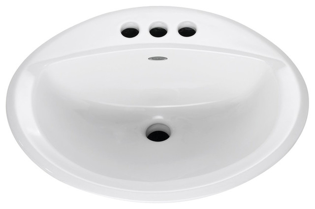 "Aqualyn Self-Rimming Drop-in Bathroom Sink with 4"" Centers in White contemporary-bathroom-sinks"