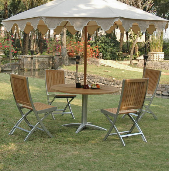 Contemporary Outdoor Dining Sets: Teak And Alloy Round Table Patio Dining Set (BF1355