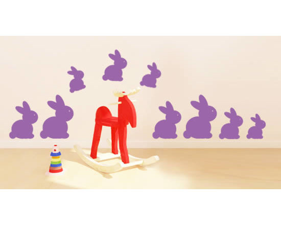 Pack wall stickers - Rabbits in 4 different sizes are included in this wall sticker pack. The cute bunnies are a great inexpensive solution to decorate your nursery, playroom or kids room. Starting price is $28.