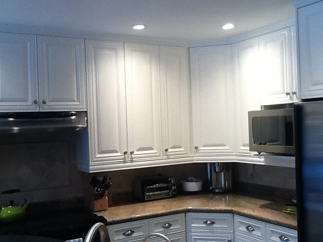 A great refinishing job that makes this kitchen look modern and fresh.