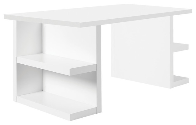 Multi 71 quot table top w storage legs pure white modern desks and