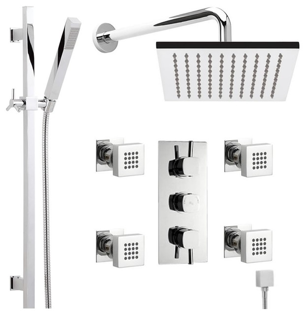 Thermostatic shower system chrome with rain head for Body spray shower systems