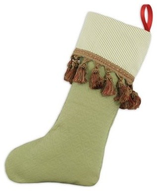 Chooty & Co. Leaf-Oxford Pasture Trimmed Christmas Stocking modern-holiday-decorations