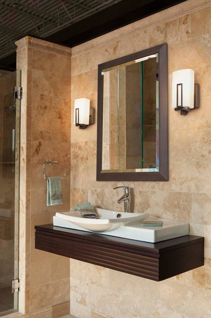 Bathrooms modern bathroom vanity lighting cleveland for Contemporary bathroom wall sconces