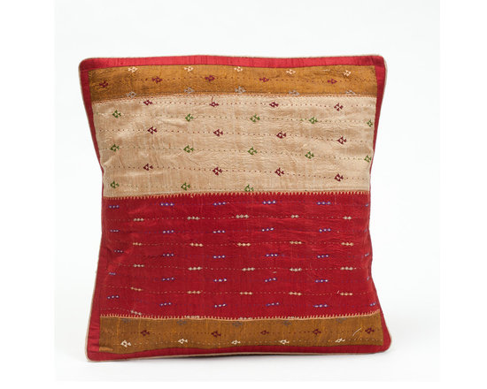 """Sitara Collections - Tribal Khuditebha Hand-Embroidered Raw Silk Cushion Cover, 16"""" X 16"""" - An instant Pick-Me-Up for Living areas or Bedrooms, this Heirloom Pillow Cover Transforms Your Space in a Matter of Minutes. the Motifs Feature Both Neutral and Bright Hues That Will Work with any Decor, While their Notice-Me Designs add the Perfect Hint of Spice.Khuditebha Hand-Embroidered Pillow Cushioms are Handmade by Women of Tribes in Kutch, india. Tribal Embroidery are Set in Rows and Columns against a Silk Backdrop and is a Technique That is Both Precious and Rare."""