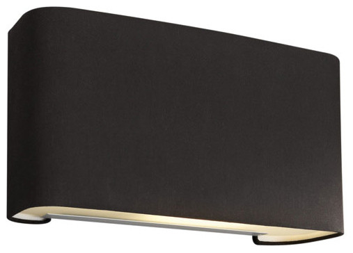 Basal Black One-Light Fluorescent Wall Sconce with Black Fabric
