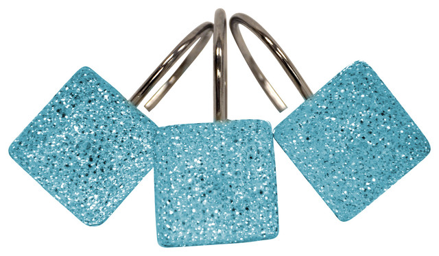 Crystal Topaz Blue Shower Curtain Hooks Contemporary Shower Curtains By