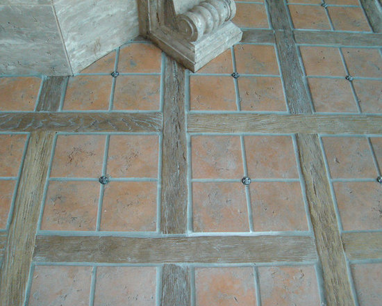 Flooring made from Concrete Tiles - concrete tile floor made to look like teak hardwood floor  by Realm of Design