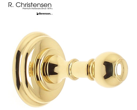 2109US3 Polished Brass Single Garment Hook by R. Christensen - 3 inch long traditional style single garment hook by R. Christensen in Polished Brass.