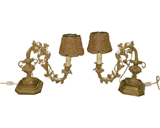 19th Century Bronze Table Lamps - 19th Century French Bronze Candle Holders, Wired & Made into Custom Lamps. Beautiful Beaded