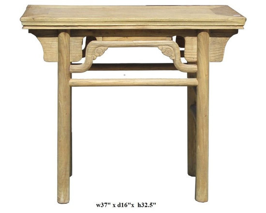 Vintage Chinese Ming Style Round Legs Altar Table - This is a traditional altar display table with Ming style. The original color is striped off to show off the natural wood color and grain. Ming style means the round column shape legs and the accent around the apron.