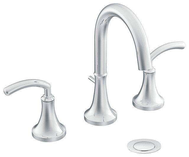 Moen Two-handle High Arc Chrome Bathroom Faucet contemporary-bathroom-faucets